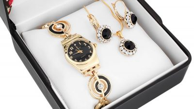 Denacci Watch with Necklace And Earrings Set Wristwatch